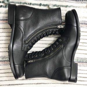 $449 Frye Tyler Double Zip Cap Toe Combat Boots